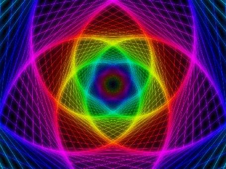 Анимация Разноцветная геометрическая абстракция в виде цветка