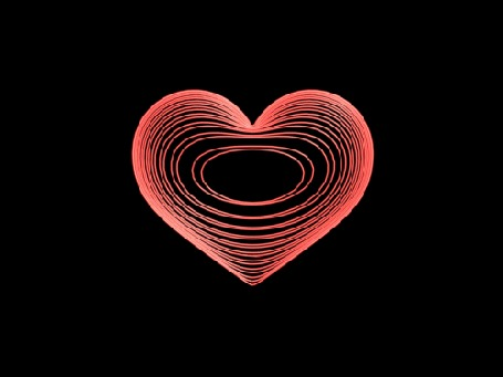 Анимация Вражающееся красное сердечко, на темном фоне