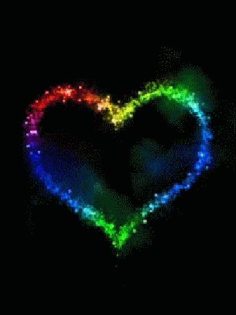 Анимация Разноцветное сердечко на черном фоне