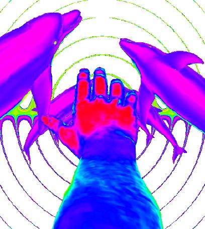 Анимация Переливающаяся разными цветыми рука мужчины и дельфины