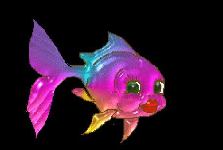 Анимация Маленькая разноцветная рыбка подмигивает и посылает сердцечки