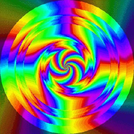 Анимация Разноцветная спиральная абстракция в виде круга