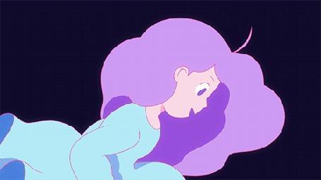 Анимация Девушка с сиреневыми волосами в голубом платье под водой смотрит как вокруг нее вверх поднимаются котики
