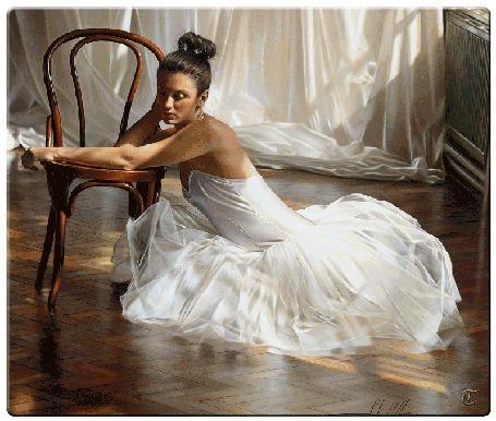 Анимация Девушка - балерина сидит на полу у стула