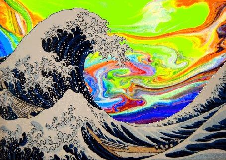 Анимация За пенными гребнями волн виднеется полыхающее разноцветными цветами небо