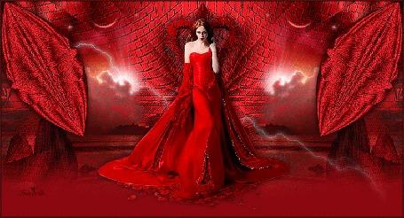 Анимация Девушка в красном платье с розами на фоне сверкающих молний