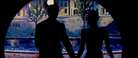 Анимация Парень с девушкой идут, держась за руки