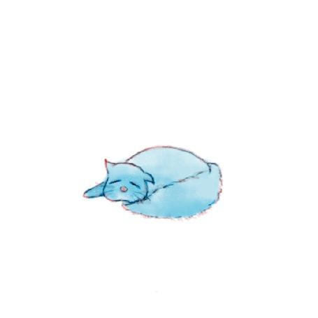 Анимация Спящий голубой котик на белом фоне