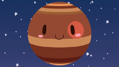 Анимация Вращающаяся планета Юпитер со спутниками