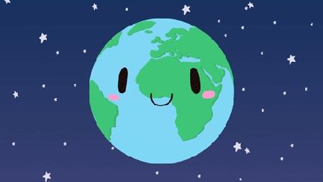 Анимация Вращающаяся планета Земля со своим спуником Луной