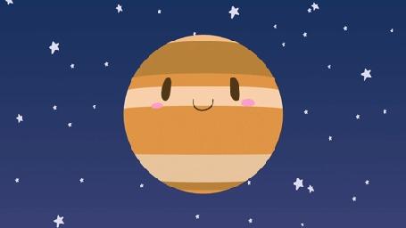 Анимация Вращающаяся планета Юпитер с глазами и улыбкой