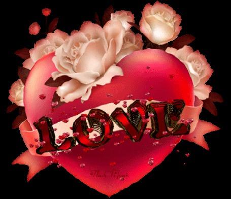 Анимация Розовое сердце с розами с крутящейся надписью LOVE