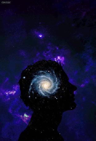 Анимация В голове человека увеличивается и уменьшается галактика