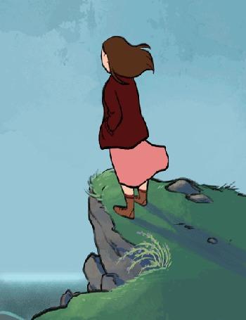 Анимация Девушка стоит на обрыве в ветреную погоду