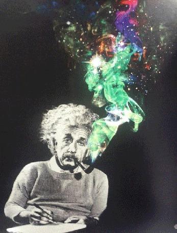 Анимация Альберт Эйнштейн со своей знаменитой трубкой, в клубах дыма из которой видны самые смелые фантазии о теории построении мира
