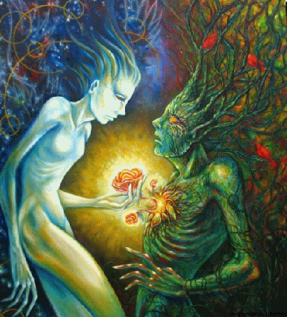 Анимация Девушка пытается обратить дьявола на путь искупления грехов, посеяв в его сердце яркие розы
