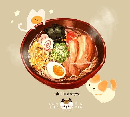 Анимация Яичный кот / EGG CAT смотрит на вкусный рамен в чашке, by nadia kim / nk-illustrates