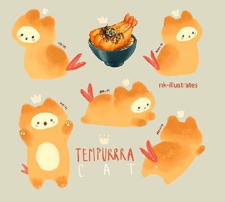 Анимация Тэмпура кот / TEMPURRRA CAT, by nadia kim / nk-illustrates