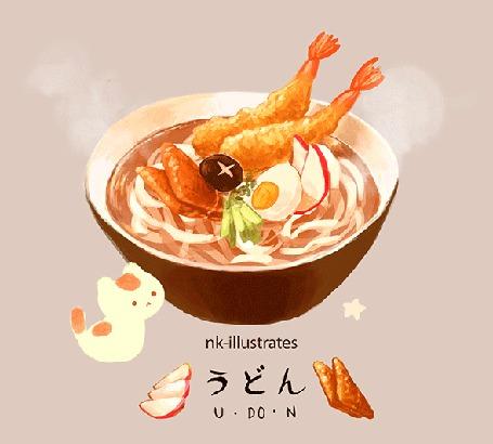 Анимация Яичный кот / EGG CAT смотрит на вкусную чашку с удоном / UDON, by nadia kim / nk-illustrates