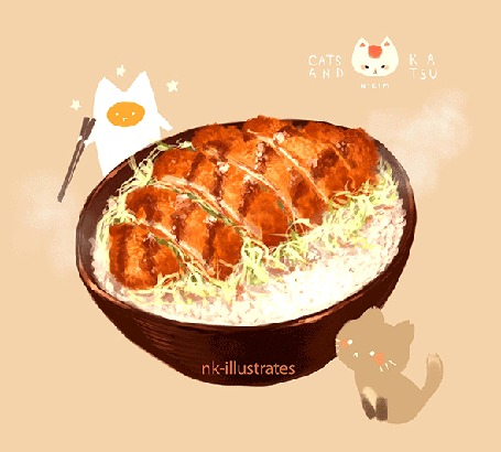 Анимация Яичный кот / EGG CAT смотрит на вкусную чашку с едой, by nadia kim / nk-illustrates