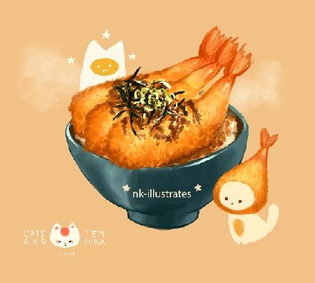 Анимация Яичный кот / EGG CAT смотрит на вкусную чашку с тэмпурой, by nadia kim / nk-illustrates