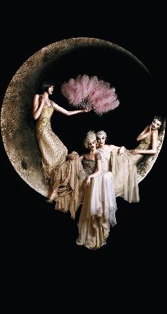 Анимация Девушки сидят на луне, а одна из них стоит и машет веером