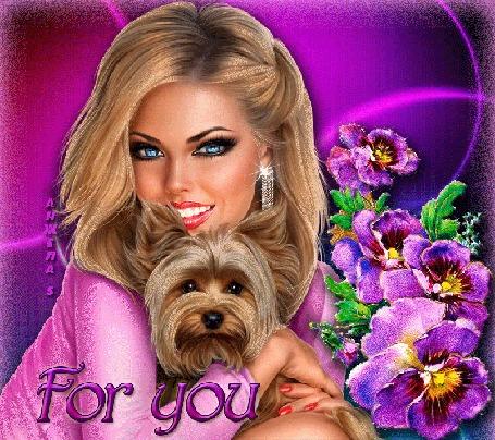 Анимация Гламурная блондинка с собачкой и цветы на ярком розовом фоне (For you / для тебя)