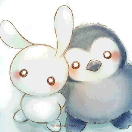 Анимация Кролик и пингвин держат в лапках горшок с распустившимся цветком (Thank you!), by IngridTan