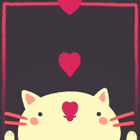 Анимация Котенок кушает сердечки