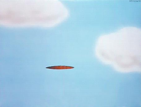 Анимация Кролик вылезает из дырки в облачном небе и падает