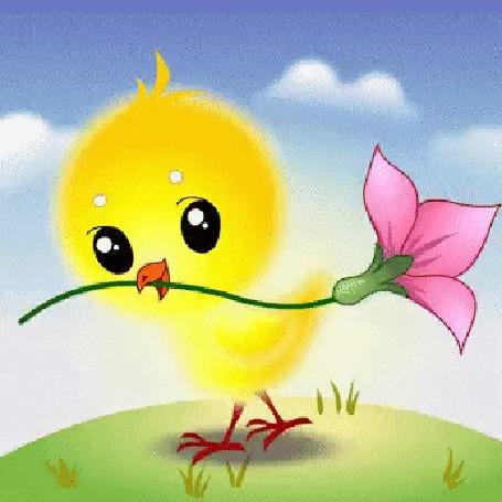 Анимация Милый, желтый цыпленок с цветком в клюве идет по круглой, зеленой земле. Над ним голубое небо, проплывают облака