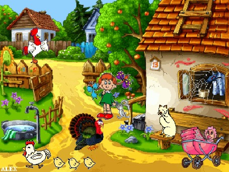 Анимация Уютный дворик дома номер 13 небольшой деревеньки, где каждый занят своим делом: на лавочке белая кошка умывается лапкой, курица гуляет со своими птенцами, в тазу замочено белье, девочка с разными бантиками трясет за лапу зайчика, в розовой коляске сидит малыш с соской, посередине двора стоит индюк, паучек на окошке плетет паутину, на заборе кричит петух, by ALEX