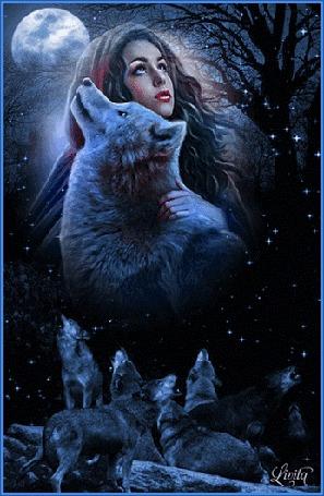 Анимация Девушка с волком стоят на фоне полной луны, автор Livita