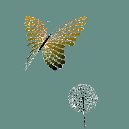 Анимация Бабочка порхает над одуванчиком