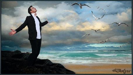 Анимация У моря, на скале, стоит мужчина в смокинге и смотрит в небо