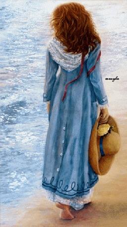 Анимация Девушка со шляпой в руке стоит у моря