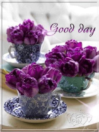 Анимация Сиреневые тюльпаны в чашках на блюдце (Good day / хорошего дня)