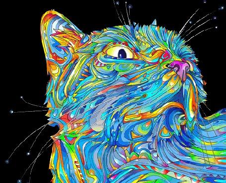 Анимация Переливающийся всеми цветами радуги абстрактный кот