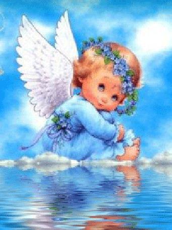 Анимация Маленький ангел в венке из голубых цветов сидит на облаках у воды