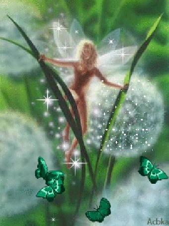Анимация Фея в траве среди одуванчиков, в окружении бабочек
