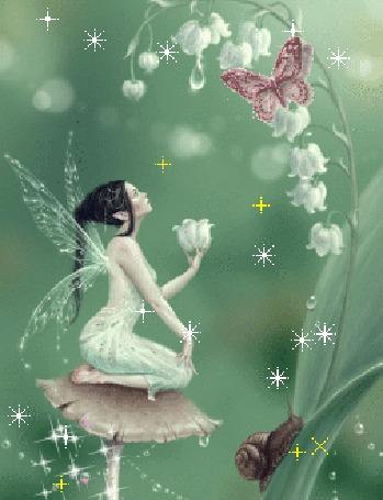 Анимация Фея сидит на грибе и держит в руке цветок ландыша