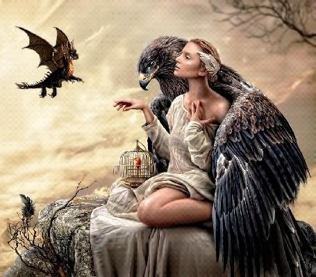 Анимация Девушка с клеткой, в которой сидит птичка, сидит на краю обрыва под крылом орла, оберегающего ее от злого дракона