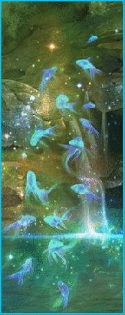 Анимация Голубые неоновые рыбки над водой