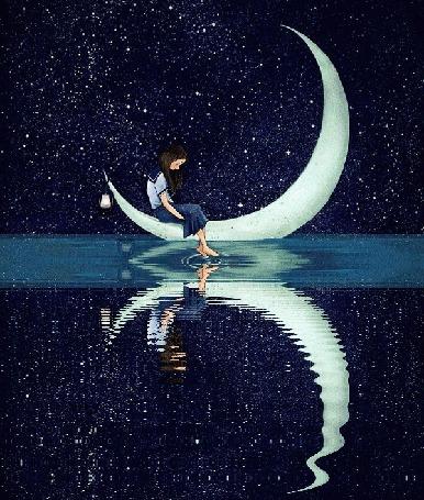 Анимация Девушка в японской школьной форме сидит на месяце, опустив ножки в воду