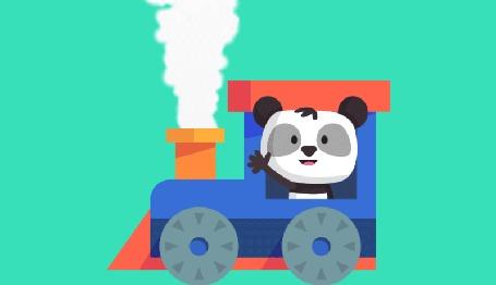 Анимация Панда едет на паровозике, by KellerAC