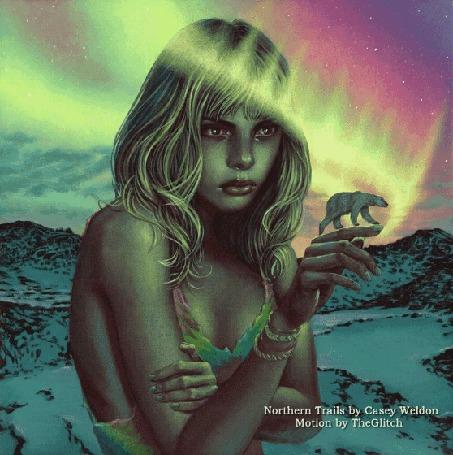 Анимация Девушка с белым медведем на руке стоит на фоне северного сияния (Northern Trails by Casey Weldon, Motion by TheGlitch)