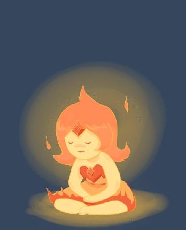 Flame Princess / Огненная Принцесса из мультсериала Adventure Time / Время Приключений сидит в темноте с закрытыми глазами