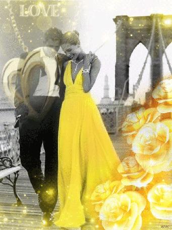 Анимация Счастливые мужчина и женщина идут обняв друг друга по набережной реки, на фоне вращаются желтые розы, украшение в виде сердца и солнечные блики с боке, (LOVE)