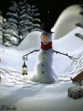 Анимация Снеговик с фонарем зимней ночью под снегопадом снимает и надевает шляпу, автор Elen-ka