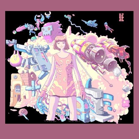 Анимация За спиной пританцовывающей девушки множество ярких персонажей и различной фантастической техники, by Paul Robertson